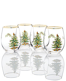 Spode Christmas Tree Stemless Wine Glasses, Set Of 4