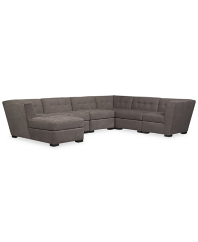 Roxanne Fabric 6 Piece Modular Sectional Sofa With Chaise