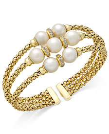 Cultured Freshwater Pearl (7-9mm) & Cubic Zirconia Openwork Bangle Bracelet in 14k Gold-Plated Sterling Silver