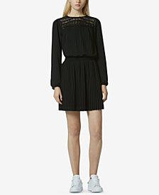 Avec Les Filles Embroidered Pleated Mini Dress