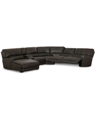 Warrin 6 Pc Leather Sectional Sofa With Chaise With 2 Power Recliners