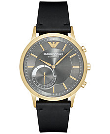 Emporio Armani Men's Rentao Black Leather Strap Hybrid Smart Watch 43mm
