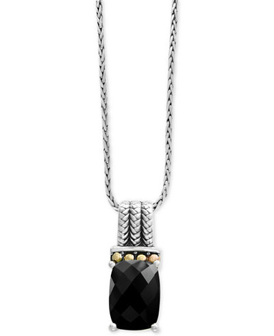 Balissima by EFFY® Onyx Pendant Necklace in Sterling Silver and 18k Gold
