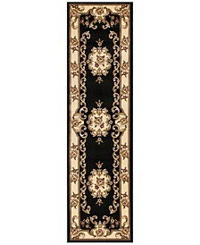 "CLOSEOUT! Kas Corinthian 5310 Black/Ivory Aubusson 2'2"" x 7'11"" Runner Rug"