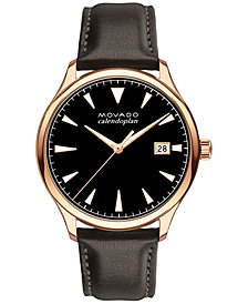 Movado Men's Swiss Heritage Series Calendoplan Chocolate Brown Leather Strap Watch 42mm