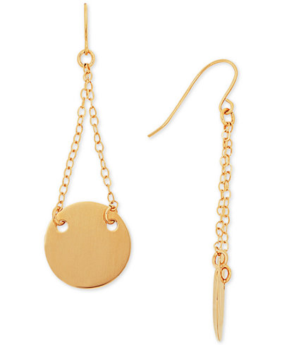 Chain and Disc Drop Earrings in 14k Gold