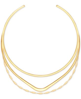 Image of GUESS Gold-Tone Triple-Row Choker Necklace