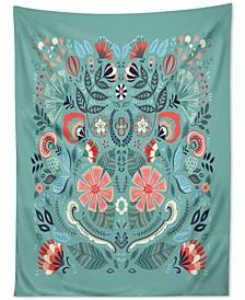 Pimlada Phuapradit Folk Floral Blue Tapestry