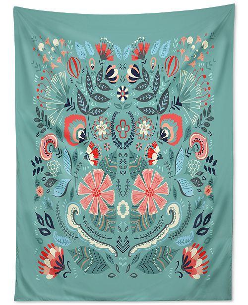 Deny Designs Pimlada Phuapradit Folk Floral Blue Tapestry