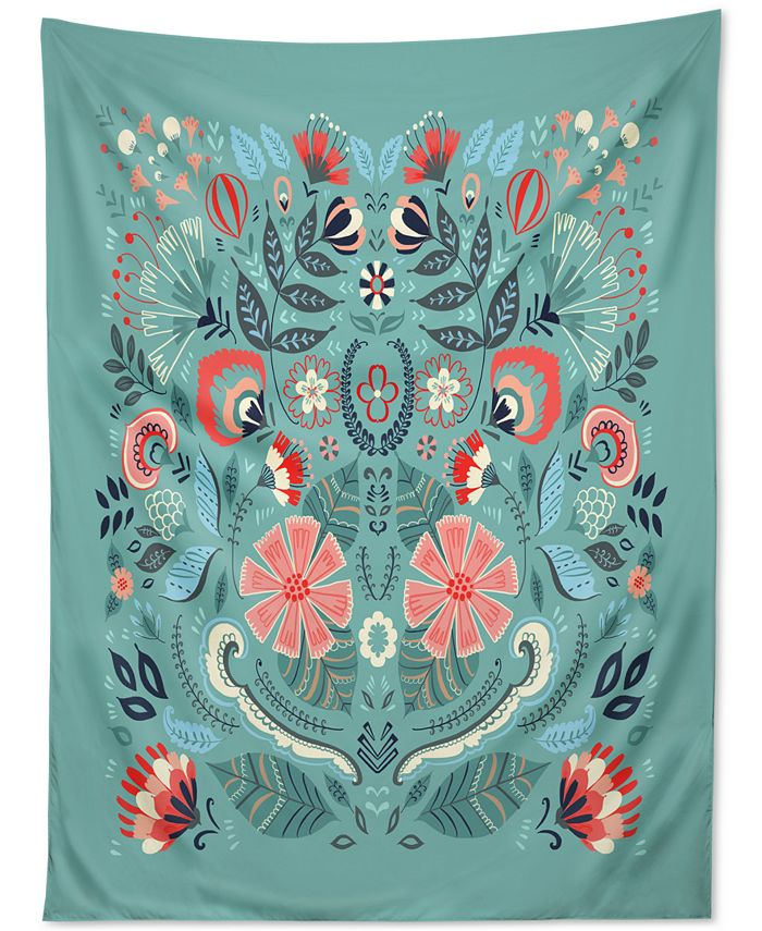 Deny Designs - Pimlada Phuapradit Folk Floral Blue Tapestry