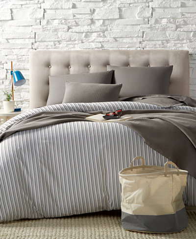 Remodo For Macy's 9-Pc. Alternating Gray Stripe Boxed Rooms, Created for Macy's