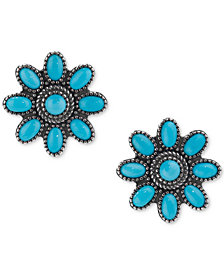 Genuine Turquoise (3-1/8 ct. t.w.) Flower Stud Earrings in Sterling Silver