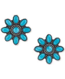 Genuine Turquoise (3-1/8 ct. t.w.) Flower Stud Earrings in Sterling Silver