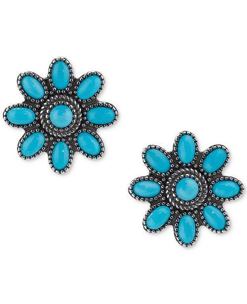 Genuine Turquoise 3 1 8 Ct T W Flower Stud Earrings In Sterling Silver