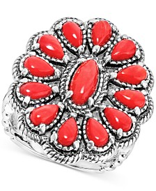 Coral Cluster Ring (3-3/8 ct. t.w.) in Sterling Silver