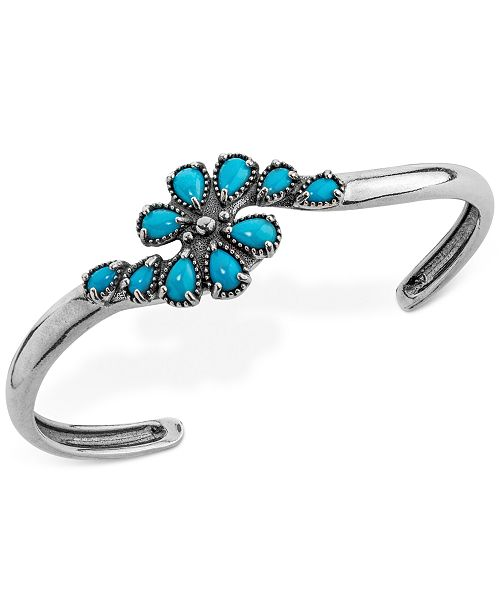 American West Genuine Turquoise (2-1/2 ct. t.w.) Cluster Cuff Bracelet in Sterling Silver