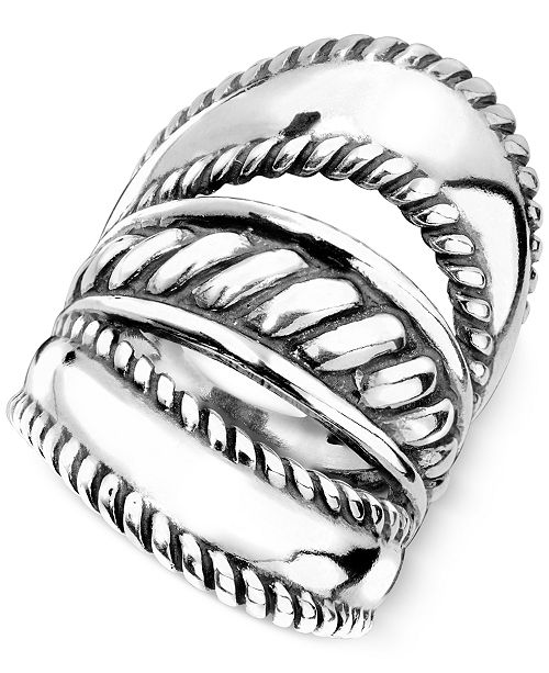 Carolyn Pollack Ornate Three-Row Ring in Sterling Silver
