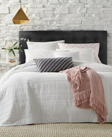 Martha Stewart Collection  100% Cotton Eyelash Stripe King Quilt, Created for Macy's