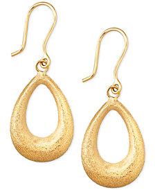 Matte Finish Teardrop Drop Earrings in 10k Gold