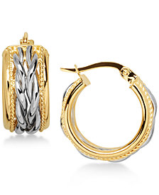 Two-Tone Braided Hoop Earrings in 14k Gold and White Gold