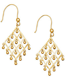 Dangle Bead Chandelier Earrings in 14k Gold