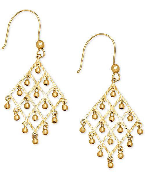 Macy's Dangle Bead Chandelier Earrings in 14k Gold
