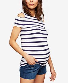 Paige Denim Maternity Striped Cold-Shoulder Top