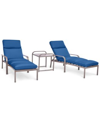 ocean port outdoor aluminum 3pc chaise set 2 chaise lounges and 1 end table
