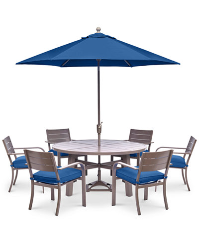 CLOSEOUT Ocean Port Outdoor Aluminum Pc Dining Set  Round - Aluminum dining table