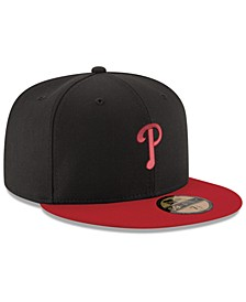 Philadelphia Phillies Black & Red 59FIFTY Fitted Cap