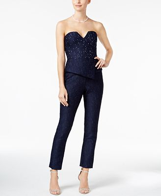 Adrianna Papell Embellished Jacquard Jumpsuit