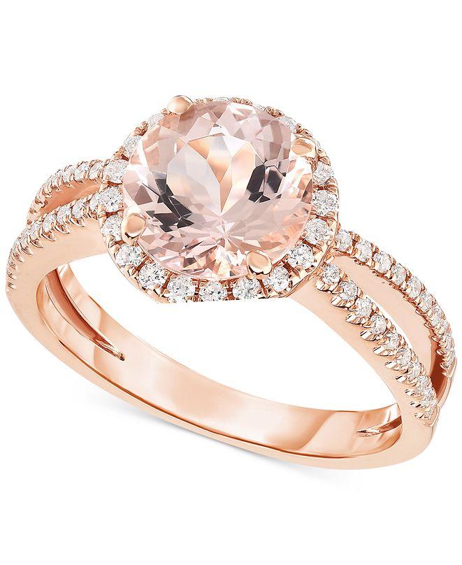Macy's Morganite (1-5/8 ct. t.w.) & Diamond (1/3 ct. t.w.) Ring in 14k Rose Gold