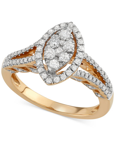 Diamond Marquise-Cluster Ring (3/4 ct. t.w.) in 14k Gold