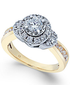 Diamond Cluster Halo Ring (1 ct. t.w.) in 14k Gold & White Gold