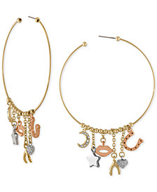 RACHEL Rachel Roy Tri-Tone Multi-Charm Hoop Earrings