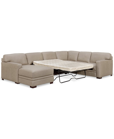 Avenell 3 Pc Leather Sectional With Full Sleeper Sofa Chaise Created For