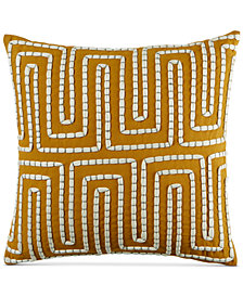 "CLOSEOUT! Martha Stewart Collection Maze 18"" Square Decorative Pillow, Created for Macy's"