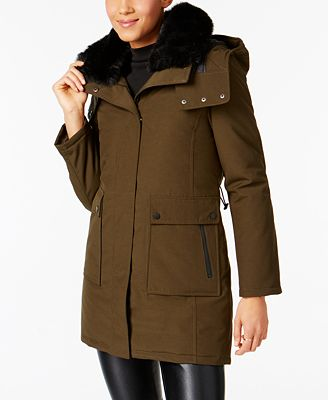 French Connection Faux-Fur-Collar Down Parka - Coats - Women - Macy's