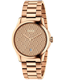 Gucci Women's Swiss G-Timeless Rose Gold-Tone PVD Stainless Steel Bracelet Watch 38mm