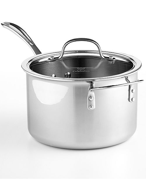 Calphalon CLOSEOUT! Tri Ply Stainless Steel 4.5 Qt. Covered Saucepan