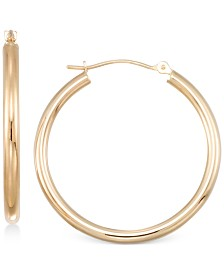 Polished Tube Hoop Earrings in 10k Gold, White Gold or Rose Gold