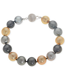 Cultured Tahitian and Golden South Sea Pearl (10mm) Bracelet in 14k White Gold