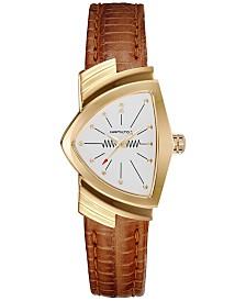 Hamilton Women's Swiss Ventura Brown Leather Strap Watch 24x37mm