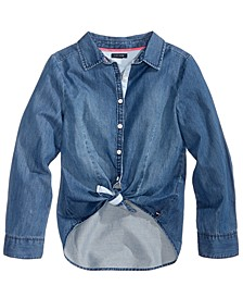 Tie-Front Denim Shirt, Big Girls