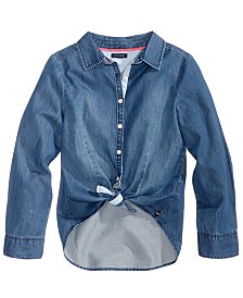 Tommy Hilfiger Tie-Front Denim Shirt, Big Girls