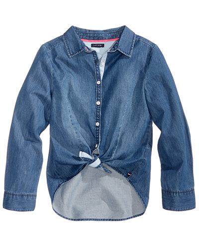 Tommy Hilfiger Tie Front Denim Shirt Big Girls Shirts