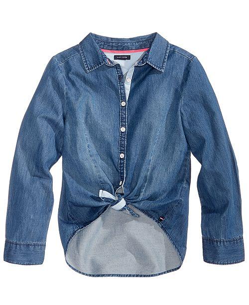 28bc1df50 Tie-Front Denim Shirt, Big Girls