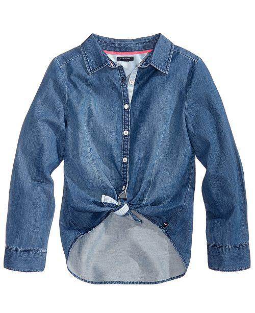 b576d8f960c Tommy Hilfiger Tie-Front Denim Shirt