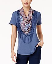 Style & Co T-Shirt with Detachable Scarf, Created for Macy's