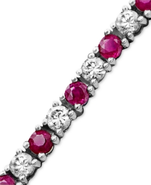 Sterling Silver Bracelet, White Sapphire (2-3/4 ct. t.w.) and Ruby (2-1/2 ct.t.w.)